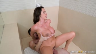 Busty aunt sucks her young boy in bathroom