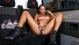 BumsBus – Latin Panther gets oiled up and eats cum in the sex van