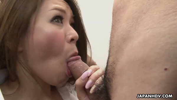 Asian slut office japanese sucks deep throat before gets threesome