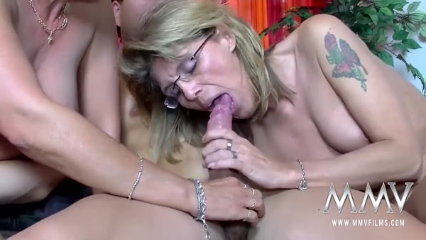 Mature MILF whores pick up a young man to fuck him