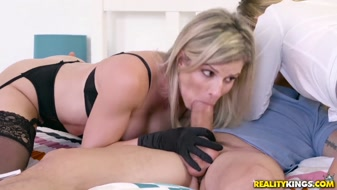 Stepmom and her daughter share a big dick for real xxx