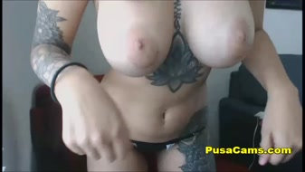 Hot Busty Brunette with Tattoos Masturbate Cum on Cam