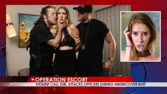 OperationEscort – Cadence Lux – Violent Call Girl Attacks Officers During Undercover Bust