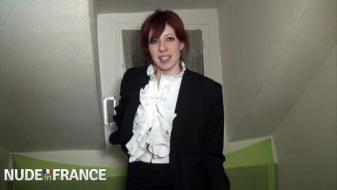 NudeInfrance - A real redhead slut student hard banged between two...